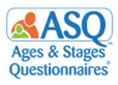 blue text with people ASQ Ages & Stages Questionnaires