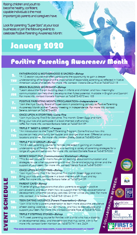 Image of flyer showing text describing the January positive parenting events