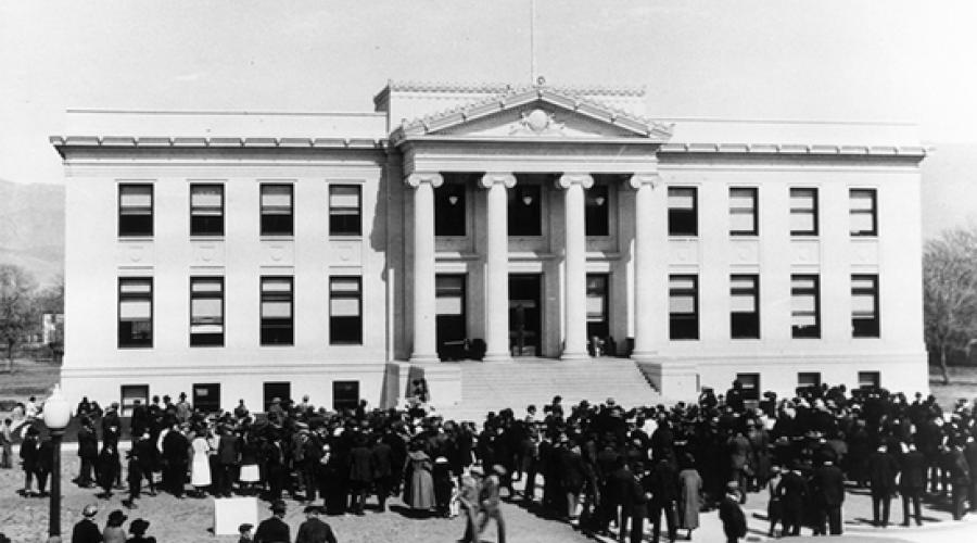 Photograph of Inyo County Courthouse at its dedication in 1920s.