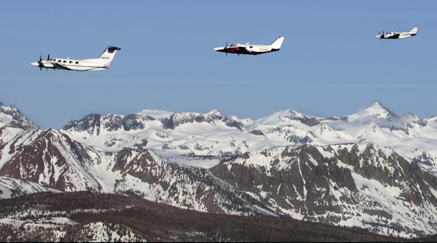 Sierra Aviation's Piper Cheyenes' over Sierra Nevada Mountains
