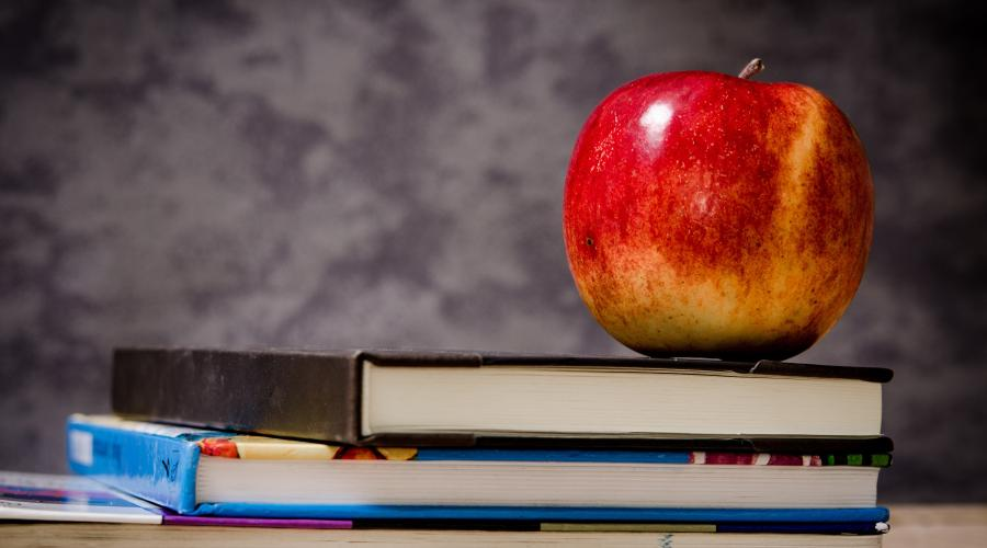 Stacked Books with Apple for Teacher