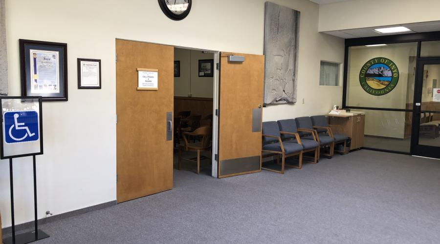 Lobby of Administrative Center showing entrance to Board of Supervisors Chambers.