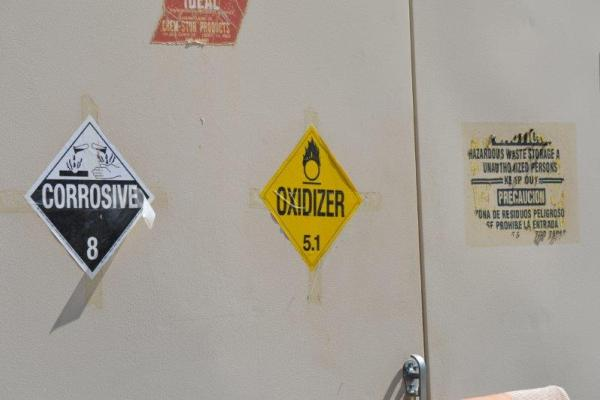Hazardous materials placards at local landfill