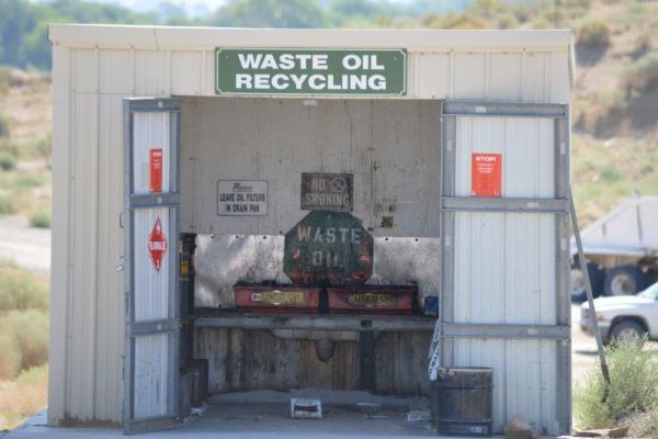 Motor oil recovery shed at landfill.
